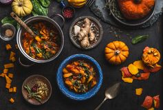 素食主义者南瓜炖煮的食物盘用菠菜在有匙子的碗服务在与罐和成份的黑暗的厨房用桌背景 库存图片