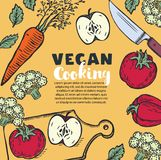 素食主义者和素食主义者食物与厨具、器物和切好的菜的食谱横幅 皇族释放例证