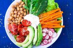 素食主义者在蓝色木背景的菩萨碗 滚保龄球用红萝卜、莴苣、蕃茄樱桃,萝卜、鲕梨和鸡豆 素食主义者, 免版税库存图片