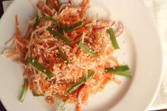素食主义者沙拉用红萝卜和萝卜 亚洲烹调 免版税库存照片