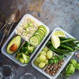素食主义者绿色膳食预习功课容器用米和菜 库存照片