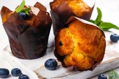 素食主义者香蕉燕麦粥松饼用蓝莓 库存图片