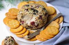 素食主义者Cheeseball开胃菜供食用薄脆饼干,Hummus,坚果黄油传播 库存照片