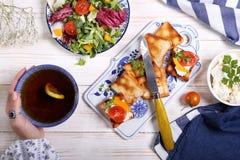 素食早餐用多士,乳酪 图库摄影