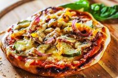 素食比萨用无盐干酪乳酪、烤夏南瓜、蘑菇、红洋葱、胡椒和新鲜的蓬蒿 在木t的意大利比萨 免版税库存照片