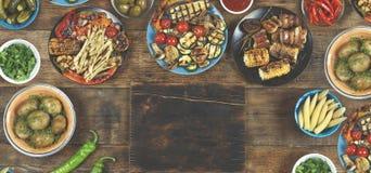 素食烤肉盘,烤菜 概念:野餐 图库摄影