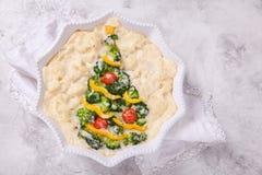 素食焦干酪用硬花甘蓝、花椰菜、蕃茄和胡椒圣诞节的 免版税库存图片