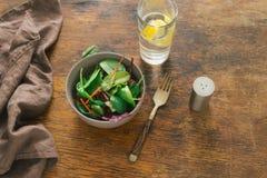 素食生物动态的食物 碗沙拉菠菜,甜菜离开, wat 图库摄影