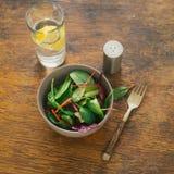 素食生物动态的食物 碗沙拉菠菜,甜菜离开, wat 免版税库存图片