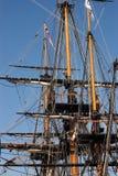 索具高的帆船 库存图片