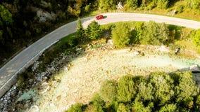 索查河河鸟瞰图在国立公园特里格拉夫峰-斯洛文尼亚 免版税库存照片