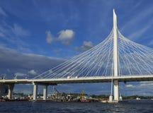 索桥的看法在涅瓦河的 库存图片
