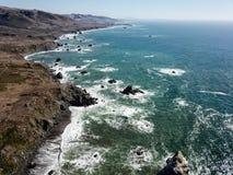 索诺马海岸线鸟瞰图在加利福尼亚 库存图片