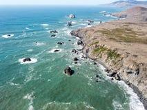 索诺马海岸鸟瞰图在加利福尼亚 免版税库存图片