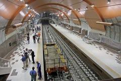 """索非亚地铁的地铁车站在建筑时在索非亚,保加利亚†""""2012年8月29日 免版税库存照片"""