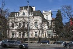 索非亚,保加利亚- 2019年3月7日:典型的大厦在索非亚,保加利亚的中心  免版税库存图片