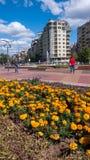 索非亚,保加利亚- 2018年9月26日:喷泉和庭院南方公园入口的在市索非亚 免版税图库摄影