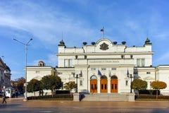 索非亚,保加利亚- 2017年11月7日:国民议会惊人的照片在市索非亚 库存照片