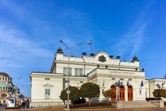 索非亚,保加利亚- 2017年11月7日:国民议会惊人的照片在市索非亚 图库摄影