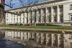 索非亚,保加利亚- 2018年3月17日:国立图书馆St西里尔和Methodius惊人的看法在索非亚 免版税库存照片