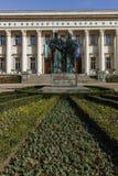 索非亚,保加利亚- 2018年3月17日:国立图书馆St西里尔和Methodius惊人的看法在索非亚 免版税图库摄影
