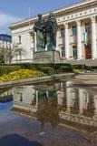 索非亚,保加利亚- 2018年3月17日:国立图书馆St西里尔和Methodius惊人的看法在索非亚 免版税库存图片