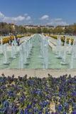 索非亚,保加利亚- 2018年4月14日:在全国劳动人民文化宫前面的喷泉在索非亚 免版税库存图片