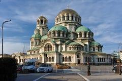 索非亚,保加利亚- 2017年11月7日:大教堂圣徒亚历山大Nevski金黄圆顶在索非亚 库存照片