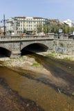 索非亚,保加利亚- 2018年4月13日:狮子在Vladaya河,索非亚的` s桥梁全景  免版税库存照片