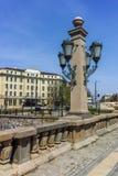 索非亚,保加利亚- 2018年4月13日:狮子在Vladaya河,索非亚的` s桥梁建筑细节  免版税库存图片