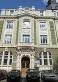 索非亚,保加利亚- 2017年10月08日:索非亚,现代样式建筑学地标银行,建立在1918年 库存图片