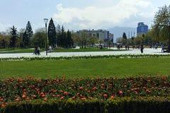 索非亚,保加利亚- 2018年4月14日:花在全国劳动人民文化宫前面的公园在索非亚 库存照片