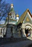 索非亚,保加利亚- 2018年3月17日:金黄圆顶俄国教会惊人的看法在索非亚 库存照片