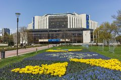 索非亚,保加利亚- 4月14日, 20F花园和国民劳动人民文化宫在索非亚 图库摄影