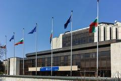 索非亚,保加利亚- 20F建筑细节4月14,全国劳动人民文化宫在索非亚 免版税库存图片