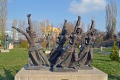 索非亚/保加利亚- 2017年11月:苏维埃时代雕象在社会主义艺术博物馆  库存照片