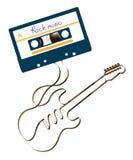 紧凑卡型盒式录音机深蓝颜色和由模式磁性录音磁带例证做的电吉他形状 向量例证