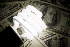 紧凑美元萤光电灯泡 免版税图库摄影