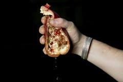 紧压pommegranate的人 库存照片