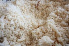 紧密,许多煮熟的米,泰国食物普遍的亚洲食物背景 图库摄影
