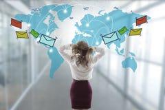 紧张与电子邮件和垃圾短信 免版税库存照片
