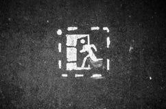 紧急出口标志 出口老标签  库存照片