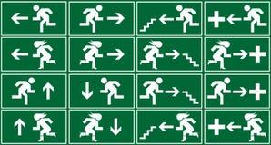 紧急出口绿色图标符号符号 免版税库存图片