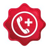 紧急呼叫象有薄雾的玫瑰红的starburst贴纸按钮 皇族释放例证