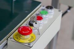 紧急按钮和其他钥匙在钥匙 库存图片