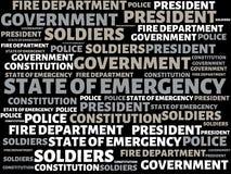 紧急状态-与词的图象联合以题目紧急状态,词,图象,例证 库存图片
