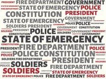 紧急状态-与词的图象联合以题目紧急状态,词,图象,例证 免版税库存图片
