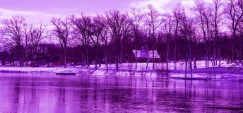 紫外冬天风景 免版税库存照片