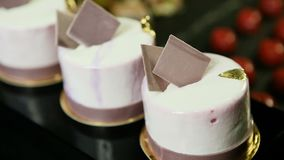 紫罗兰色奶油甜点的宏观缓慢的全景微型与巧克力装饰 影视素材