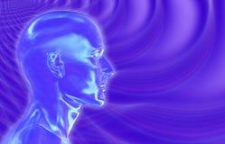 紫罗兰色背景的脑波 库存图片